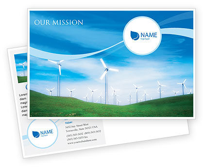 Technology, Science & Computers: Wind Energy Postcard Template #01801