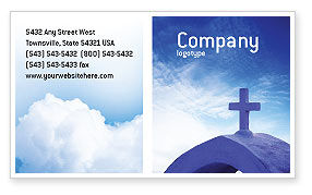 Blue Cross Business Card Template, 01804, Religious/Spiritual — PoweredTemplate.com