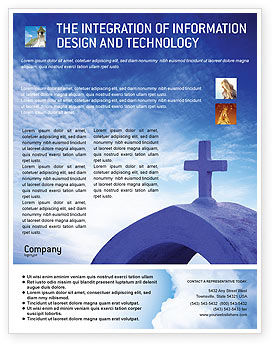 Blue Cross Flyer Template, 01804, Religious/Spiritual — PoweredTemplate.com