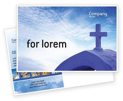 Religious/Spiritual: Blue Cross Postcard Template #01804