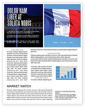 French Flag Newsletter Template, 01805, Flags/International — PoweredTemplate.com