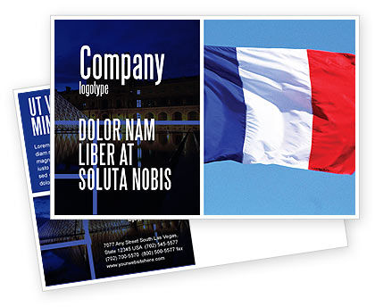 Flags/International: French Flag Postcard Template #01805
