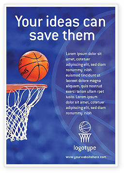 Sports: Basketball Wedstrijd Advertentie Template #01816