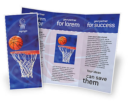 sports brochure templates - basketball match brochure template design and layout