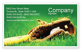 Sports: Baseball Glove and Bat Business Card Template #01833