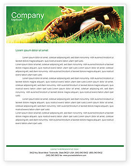 Sports: Baseball Glove and Bat Letterhead Template #01833