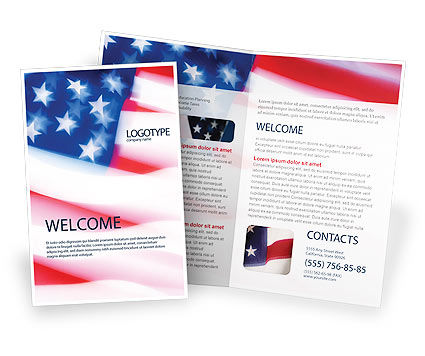 Flag of the United States of America Brochure Template, 01851, America — PoweredTemplate.com