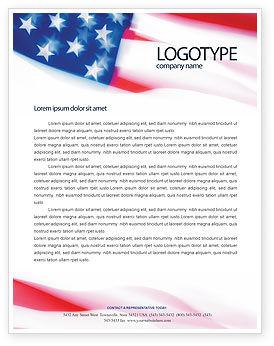 America: Flag of the United States of America Letterhead Template #01851