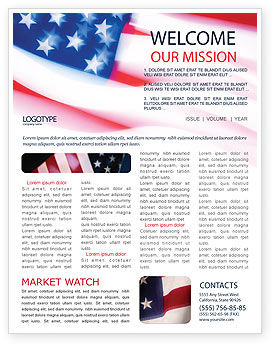 Flag of the United States of America Newsletter Template, 01851, America — PoweredTemplate.com