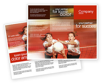 Volleyball Brochure Template, 01862, Sports — PoweredTemplate.com