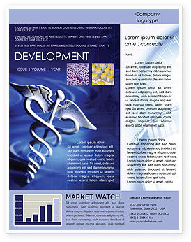 Medical: Caduceus In Deep Blue Colors Newsletter Template #01881