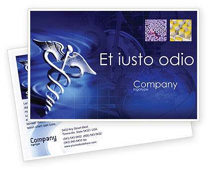 Medical: Caduceus In Deep Blue Colors Postcard Template #01881