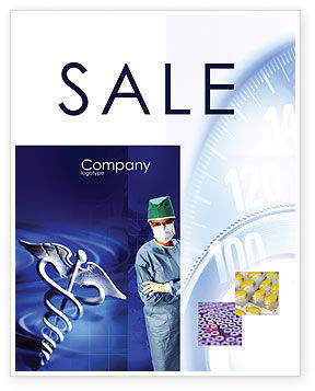 Medical: Caduceus In Deep Blue Colors Sale Poster Template #01881