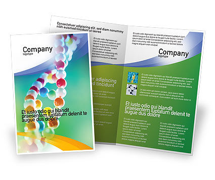 DNA On A Green Yellow Blue Brochure Template, 01884, Medical — PoweredTemplate.com