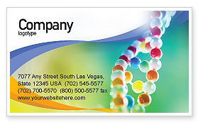 DNA On A Green Yellow Blue Business Card Template, 01884, Medical — PoweredTemplate.com