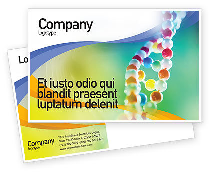 Medical: DNA On A Green Yellow Blue Postcard Template #01884