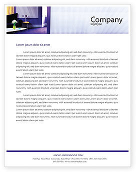 Interior In Violet Letterhead Template, 01896, Consulting — PoweredTemplate.com