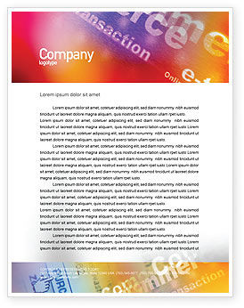 Business Concepts: E-Commerce In Pink-Blue-Yellow Palette Letterhead Template #01898