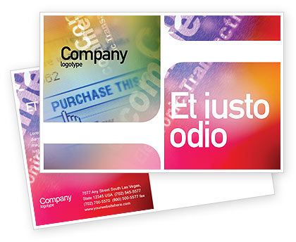 Business Concepts: Modèle de Carte postale de e-commerce en palette rose-bleu-jaune #01898