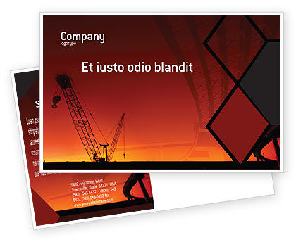 Construction: Road Building Postcard Template #01909