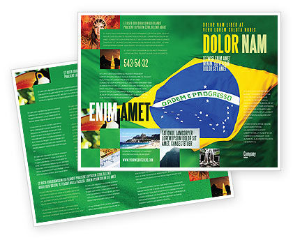 Flags/International: Brazilian Flag Brochure Template #01915
