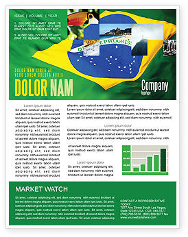 Brazilian Flag Newsletter Template, 01915, Abstract/Textures — PoweredTemplate.com