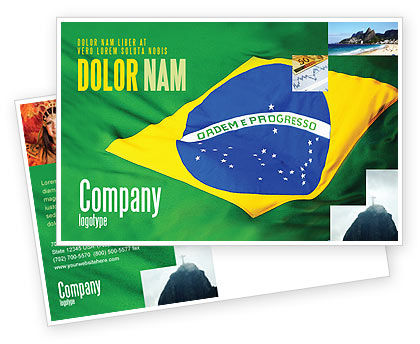 Brazilian Flag Postcard Template, 01915, Abstract/Textures — PoweredTemplate.com