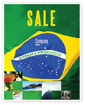 Brazilian Flag Sale Poster Template, 01915, Abstract/Textures — PoweredTemplate.com