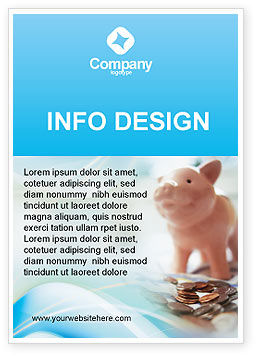 Financial/Accounting: Piggy Bank And Coins Ad Template #01932