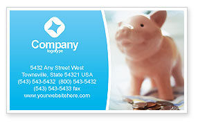 Piggy Bank And Coins Business Card Template