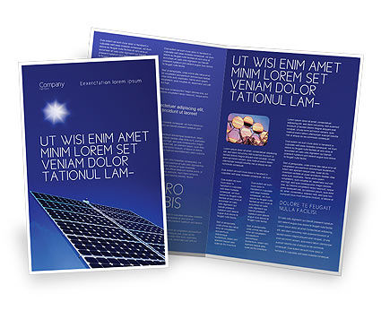 Technology, Science & Computers: Solar Panels Rising Up Power Brochure Template #01936