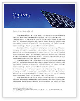 Technology, Science & Computers: Solar Panels Rising Up Power Letterhead Template #01936