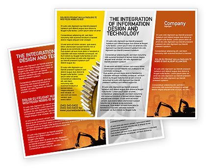 Silhouettes Of Excavators Brochure Template, 01940, Utilities/Industrial — PoweredTemplate.com