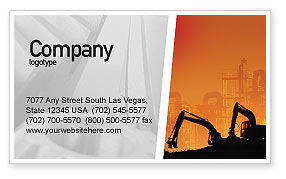 Utilities/Industrial: Silhouettes Of Excavators Business Card Template #01940