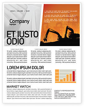 Utilities/Industrial: Silhouettes Of Excavators Newsletter Template #01940