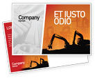 Utilities/Industrial: Silhouettes Of Excavators Postcard Template #01940