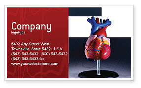 Heart Model Business Card Template, 01960, Medical — PoweredTemplate.com