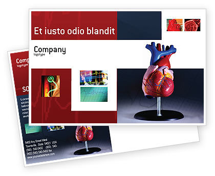 Medical: Heart Model Postcard Template #01960