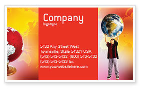 Earth In Young Pupil Hands Business Card Template, 01975, Education & Training — PoweredTemplate.com