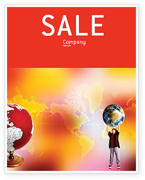 Education & Training: Earth In Young Pupil Hands Sale Poster Template #01975