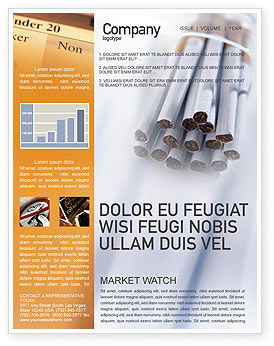 Cigarettes Newsletter Template, 01977, Medical — PoweredTemplate.com