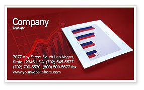 Financial/Accounting: Red Histogram Business Card Template #01994