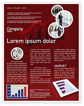 Red Histogram Newsletter Template, 01994, Financial/Accounting — PoweredTemplate.com