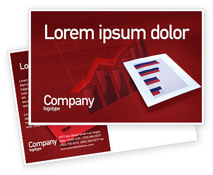 Red Histogram Postcard Template, 01994, Financial/Accounting — PoweredTemplate.com