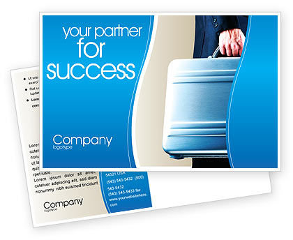 Business Concepts: Suitcase  Postcard Template #01996