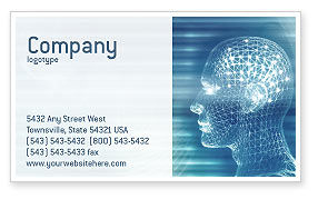 Technology, Science & Computers: 3D Head Model Business Card Template #02013