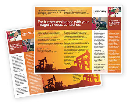 Oil Well Brochure Template, 02018, Utilities/Industrial — PoweredTemplate.com