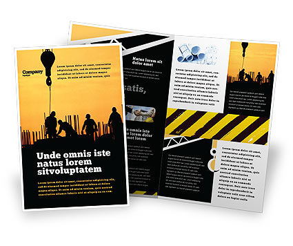 Building Industry Brochure Template, 02021, Construction — PoweredTemplate.com