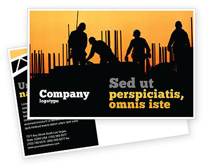 Building Industry Postcard Template, 02021, Construction — PoweredTemplate.com