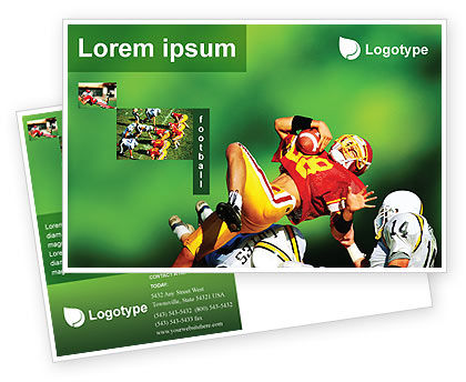 Gridiron Football Postcard Template, 02030, Sports — PoweredTemplate.com